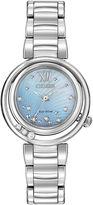 Citizen Eco-Drive Sunrise Womens Silver-Tone Diamond-Accent Bracelet Watch