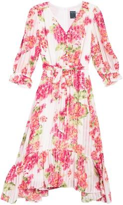 Gabby Skye Floral 3/4 Sleeve Chiffon Midi Dress
