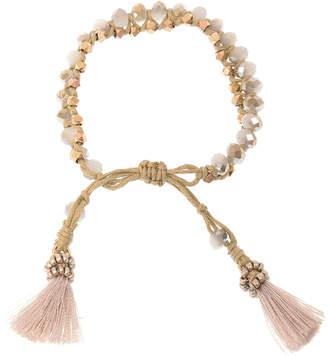 Joy Susan Women's Bracelets Brown/Gold - Brown Suede & Goldtone Tassel-Accent Beaded Bracelet