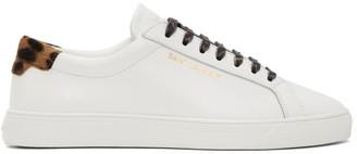 Saint Laurent White Leopard Andy Sneakers