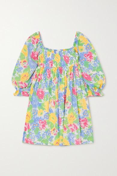 Faithfull The Brand Alina Shirred Floral-print Woven Mini Dress