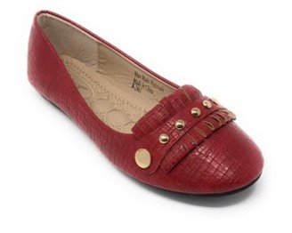 Victoria K Women's Squared Textured with Gold Studs Ballerina Flats