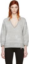 DSQUARED2 Grey V-neck Zip Sweatshirt