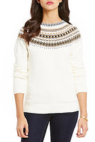 Daniel Cremieux Isa Pattern Round Neck Long Sleeve Sweater
