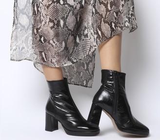 Office Aquarius Low Platform Boots Black Leather