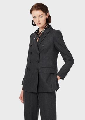 Emporio Armani Wool Melange Flannel, Double-Breasted Blazer