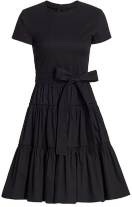 Carolina Herrera Short-Sleeve Tiered A-Line Dress