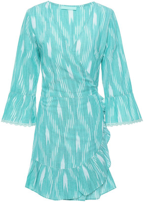 Melissa Odabash Freya Ruffle-trimmed Printed Cotton Mini Wrap Dress