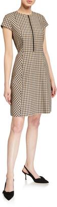 Elie Tahari Louisa Cap-Sleeve Check Dress