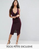Asos Plunge Midi Pencil Dress in Metallic