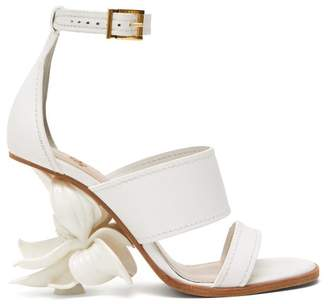 Alexander McQueen Floral-heel Leather Sandals - Womens - White