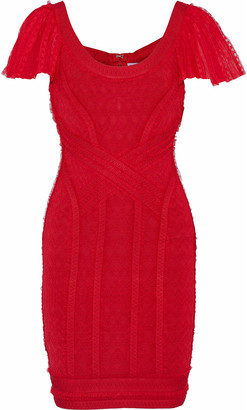 Herve Leger Tulle-trimmed Cloque-bandage Mini Dress