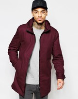 Asos Festival Lightweight Parka Jacket in Burgundy