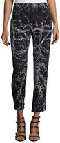 Haute Hippie Mid-Rise Cropped Trousers, Black/Swan