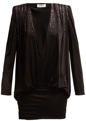 ATTICO The Crystal-embellished Stretch-jersey Mini Dress - Womens - Black