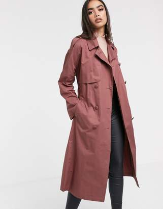 Asos Design DESIGN cotton trench coat with self belt in dark rose-Pink