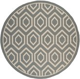 Safavieh Courtyard Collection CY6902-246 Anthracite and Beige Indoor/Outdoor Round Area Rug, 7-Feet 10-Inch in Diameter