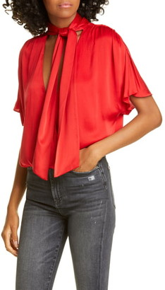 Alice + Olivia Livvy Tie Neck Wrap Front Stretch Silk Blouse