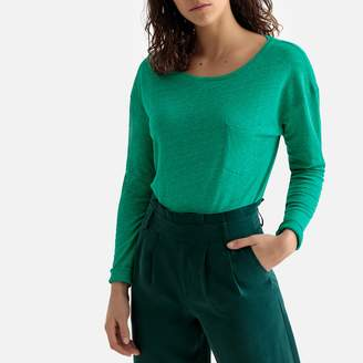La Redoute Collections Linen Crew Neck Long-Sleeved T-Shirt