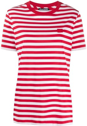 Acne Studios striped Face patch T-shirt
