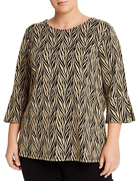 Junarose Plus Palo Metallic Pattern Bell-Sleeve Top