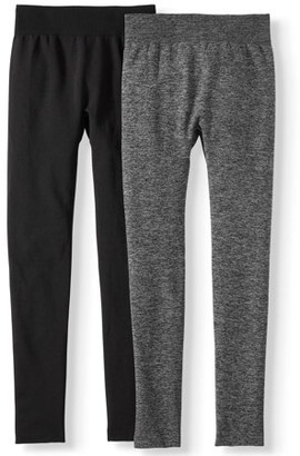 Time and Tru Women's Flat Essential Legging, 2-Pack