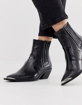 Stradivarius moc croc western heeled boots in black