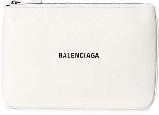 Balenciaga White Everyday Logo Zip Pouch