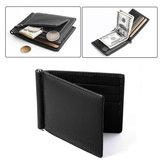 Evangel Ultra-slim Leather Men Wallet, Faux Cowhide Leather, Bi-Fold Flip Wallet with 6 Credit Card Slots, Note Clip, Coin Pocket (Black)