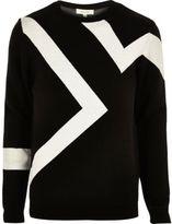 River Island MensBlack lightning print sweater