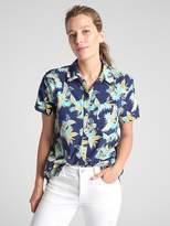 Gap Short Sleeve Tropical Print Button-Down Shirt