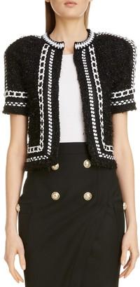 Balmain Metallic Tweed & Mesh Knit Crop Jacket