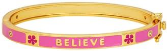 "Junior Jewels Kids' 14k Gold Plated ""Believe"" Enamel Bangle Bracelet"