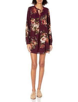 Blu Pepper Women's Long Sleeve Floral Dress with Adjustable Neck