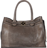 Zagliani Women's Lizard Gatsby Small Tote-TAN