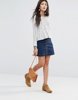 Free People Denim Skirt With Button Detail