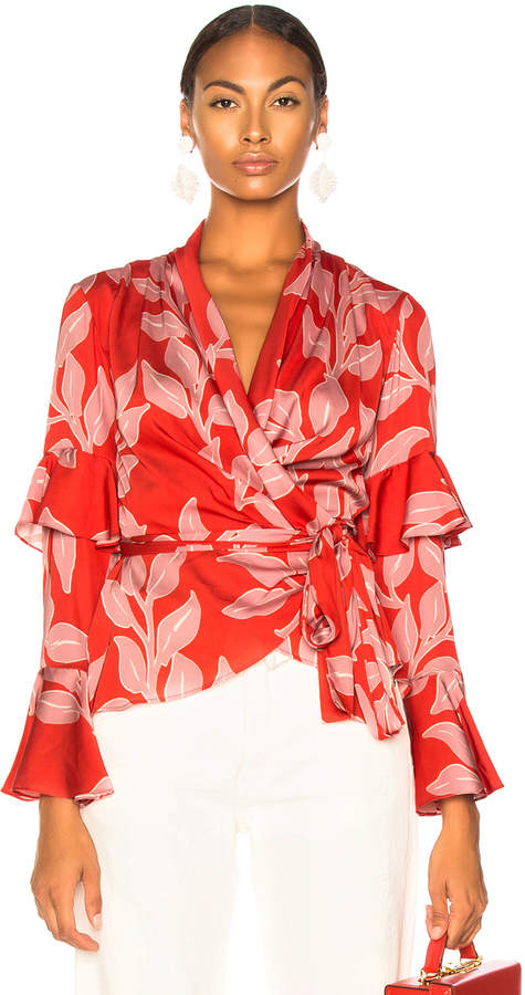 PatBO Leaf Print Wrap Top in Hot Pink | FWRD