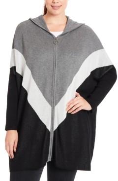 Joseph A Plus Size Colorblocked Chevron Hooded Zip-Front Poncho