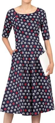 Jolie Moi Lip Print Midi Dress, Navy/Multi