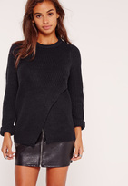 Missguided Wrap Front Sweater Navy