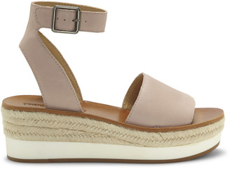 Lucky Brand Women's Joodith Platform Wedges Fossilized Size 5 Leather From Sole Society