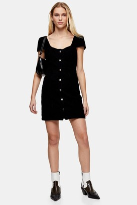 Topshop Womens Black Corduroy Cap Sleeve Bodycon Dress - Black