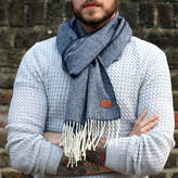 Hurleyburley man Men's Personalised Lambswool Navy Herringbone Scarf