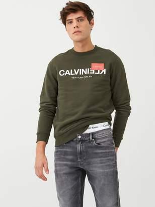 Calvin Klein Reverse Text Logo Sweatshirt - Dark Olive