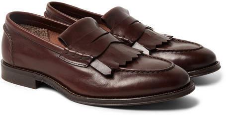 Brunello Cucinelli Leather Kiltie Loafers