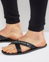 Armani Jeans Logo Cross Over Flip Flops In Black