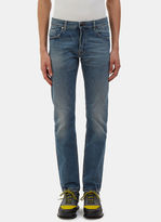 Fendi Men's Slim Fit Stonewashed Jeans In Blue