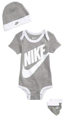 Nike Futura Logo Hat, Bodysuit & Booties Set