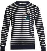Saint Laurent Badge-appliqué Striped Wool Sweater