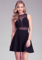 Bebe Geometric Mesh Fit & Flare Dress